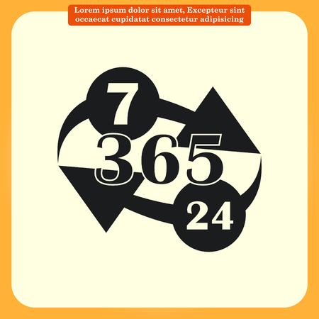 24 7: Open 24 7 icon with clock Illustration