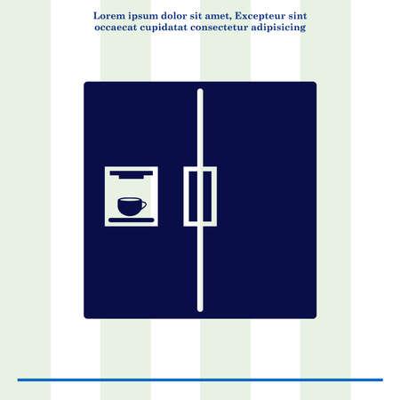 coolness: Home appliances icon. Refrigerator icon. Vector illustration. Kitchenware. Stock Photo
