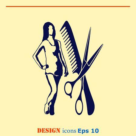 Barber icon, beauty salon, hair style silhouette .  Flat Vector illustration