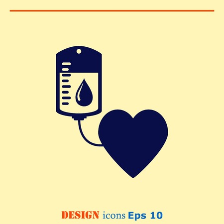 transfusion: Blood donation icon, vector illustration. Flat design style. The container transfusion icon.
