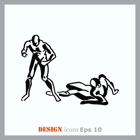 kickboxing: The fight of two men. The fight, sparring, boxing, karate. Vector illustration.