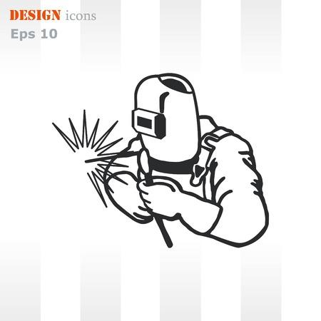 Sylwetka pracy spawania z ikoną palnika. ilustracji wektorowych. Ilustracje wektorowe