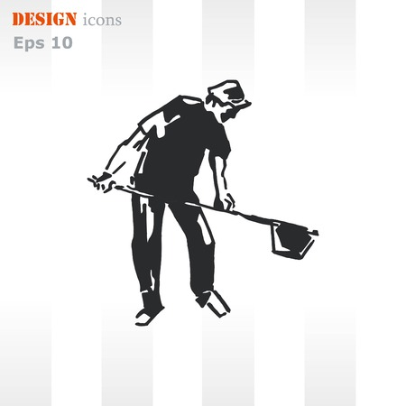 nude fashion model: A man with a shovel. Silhouette of men. Vector illustration. Handsome man.