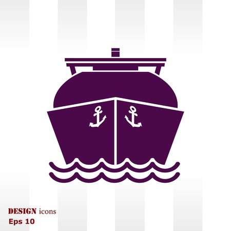 lng: Ship icon, LNG gas carrier,  vector illustration. Flat design style.