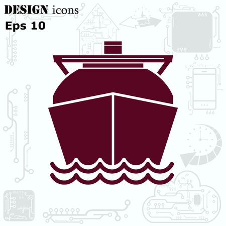freighter: Ship icon, LNG gas carrier, vector illustration. Flat design style.