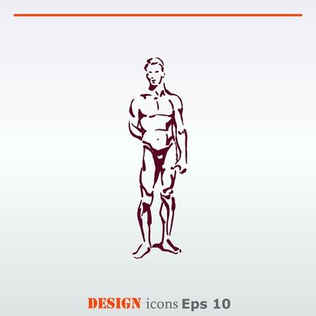 Silhouette des hommes athlétiques. Beauté, glamour. Vector illustration. Handsome athlète masculin.