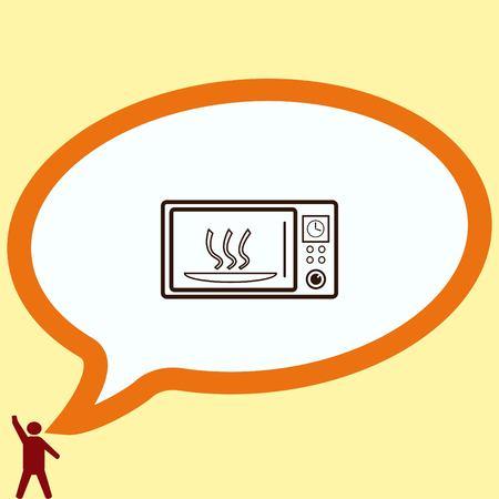 Home appliances icon. Microwave icon. Vector illustration. Kitchenware.