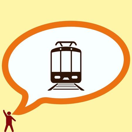 Passenger train, subway, Metro, public transport  icon, vector illustration. Flat design style