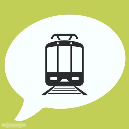 Treno passeggeri, metropolitana, metropolitana, icona di trasporto pubblico, illustrazione vettoriale. Stile di design piatto