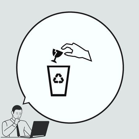Gooi de prullenbak, kringlooppictogram Vector Illustratie