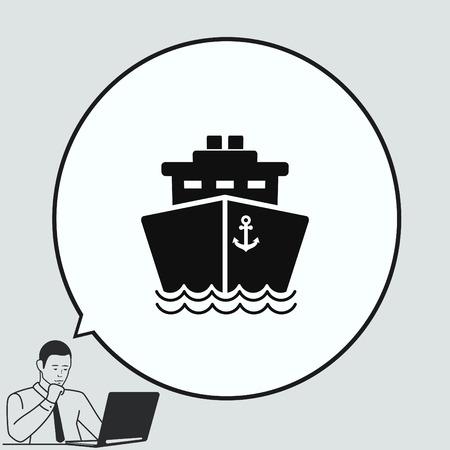 Ship icon, vector illustration. Flat design style.
