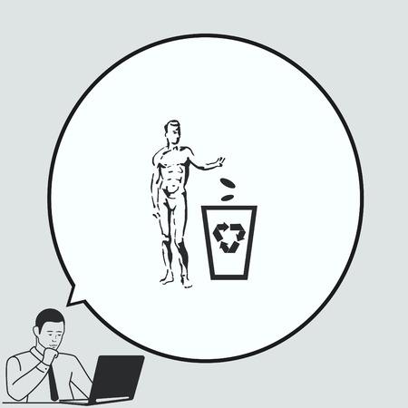 Prullenbakpictogram plaatsen, pictogram recyclen. Platte vectorillustratie