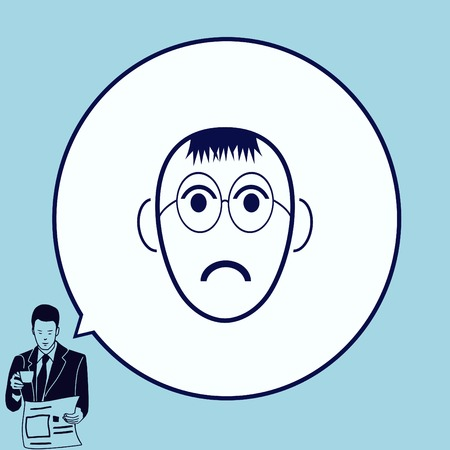 angry teenager: Angry little boy Icon.