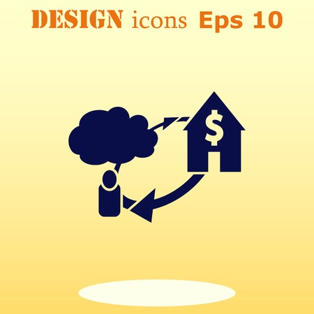 bribe: Financial Services Cloud, Money icon, Finance Icon, vector illustration. Flat design style