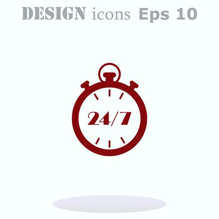 Open 24 7 icon with clock Vettoriali