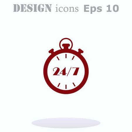 Open 24 7 icon with clock Stock Illustratie