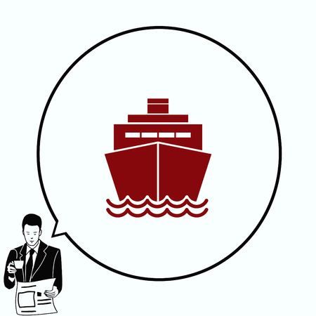 freighter: Ship icon, vector illustration. Flat design style.