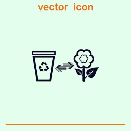 Bote el icono de la papelera, recicla el icono