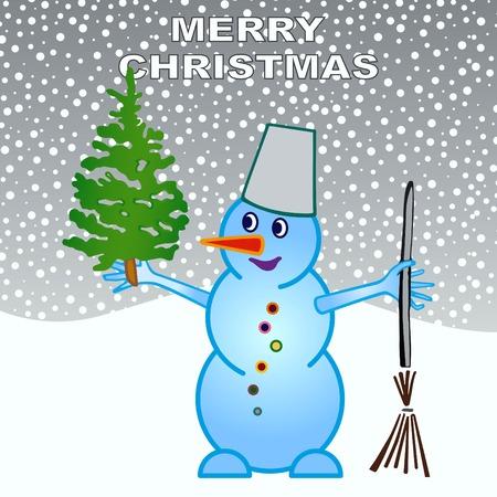 Bonhomme de neige, illustration vectorielle. Appartement style design. Carte de Noël.