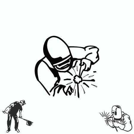 Silhouette of a working welding with a torch icon. Illustration