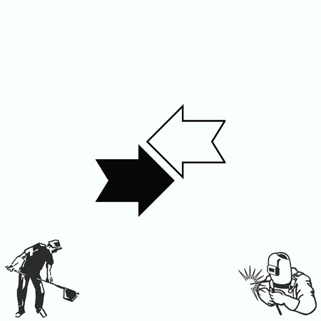 Arrow indicates the direction  icon, illustration Illustration