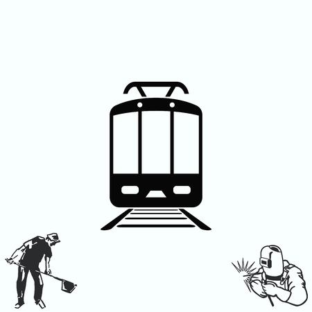 electric train: Passenger train, subway, Metro, public transport  icon, illustration. Flat design style