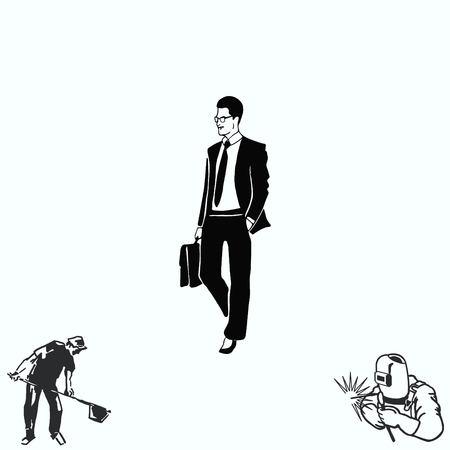 confident: Confident businessman with a briefcase.