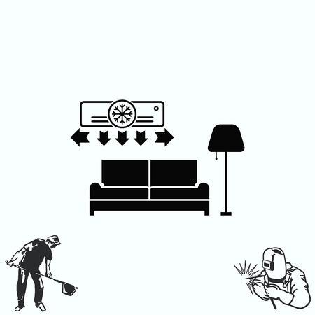 living room design: Home interior design icon, sofa icon, living room Illustration