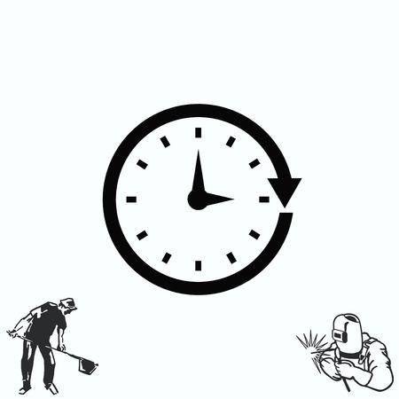 working hours: Clock Icon, illustration
