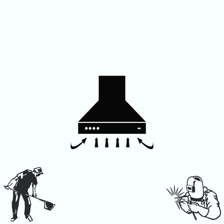 kitchen appliances: Home appliances icon. Kitchen hood icon Illustration