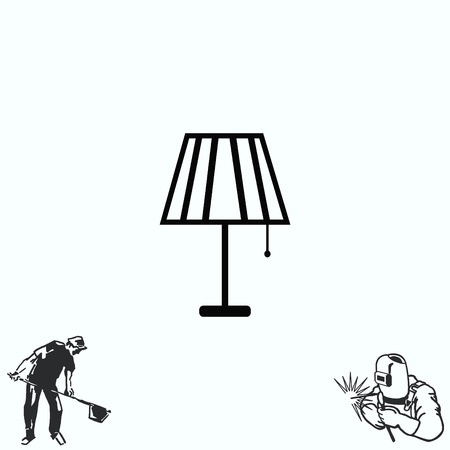 floor lamp: Home appliances icon. Table lamp, floor lamp, chandelier icon.