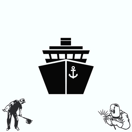 freighter: Ship icon,  illustration. Flat design style.
