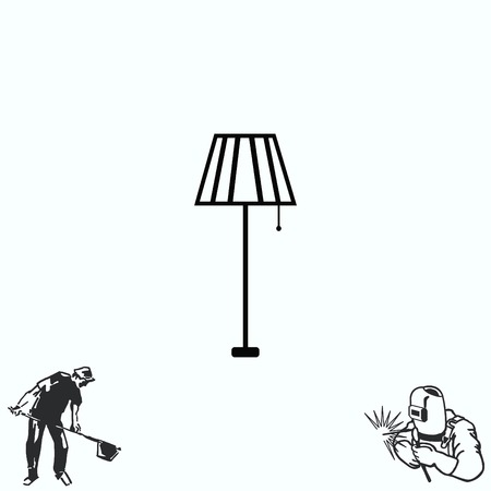 floor lamp: Home appliances icon. Table lamp, floor lamp, chandelier icon. illustration. Illustration