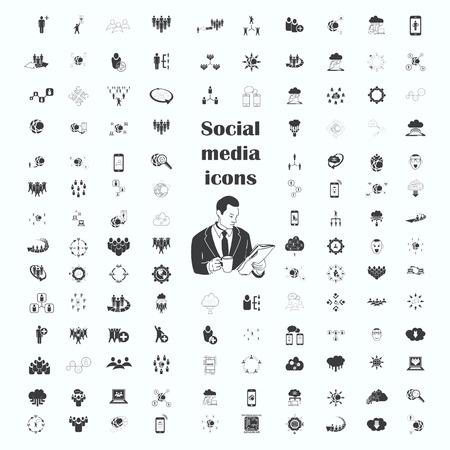 Iconos de red social Conjunto, establecen Amigos iconos, Grupo de personas conjunto de iconos, ilustración. estilo de diseño plano