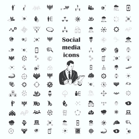 social network icons set, Friends icons set, Group of people icons set, illustration. Flat design style