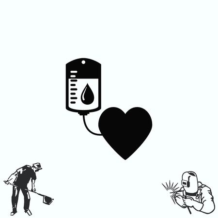 transfusion: Blood donation icon, illustration. Flat design style. The container transfusion icon. Illustration