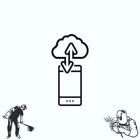 handset: The handset, phone icon , illustration. Illustration