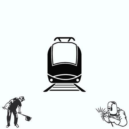 Passenger train, subway, Metro, public transport  icon, illustration. Flat design style
