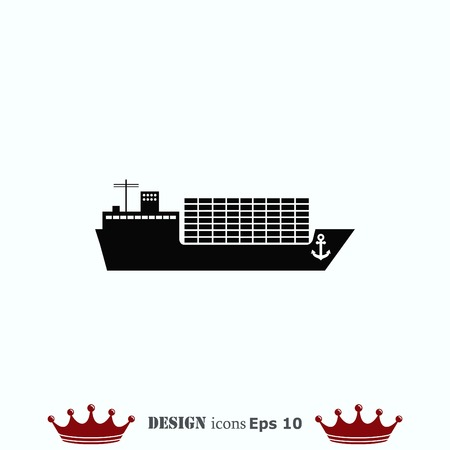 Schiff-Symbol, Vektor-Illustration. Flache Design-Stil.