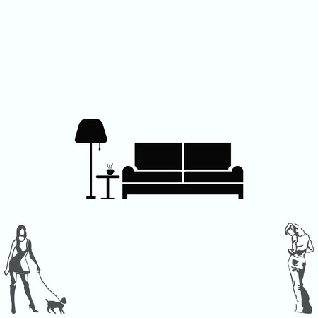 interior decoration: Home interior design icon, sofa icon, living room, vector illustration. Flat design style.