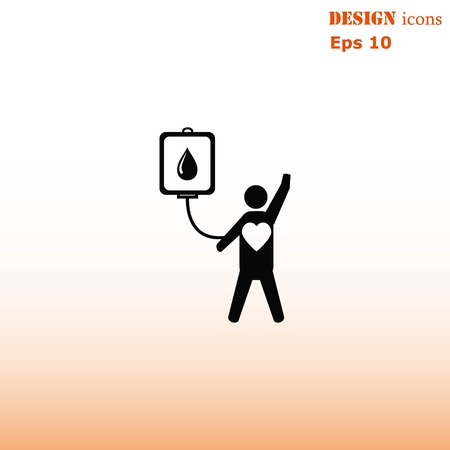 Blood donation icon, vector illustration. Flat design style. The container transfusion icon.