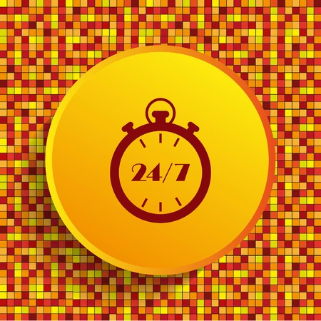 working hours: Open 24 7 icon with clock Illustration