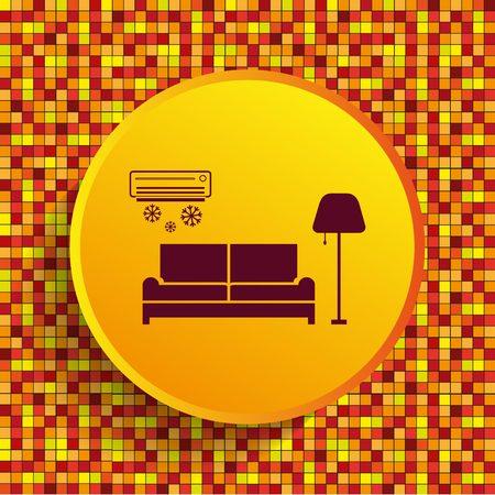 table lamp: Home interior design icon, sofa icon, living room, vector illustration. Flat design style.