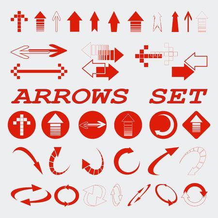 score under: Arrow indicates the direction icons set, vector illustration. Flat design style Illustration