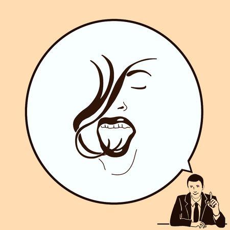Barber icon, beauty salon  , hair style silhouette .  Flat Vector illustration