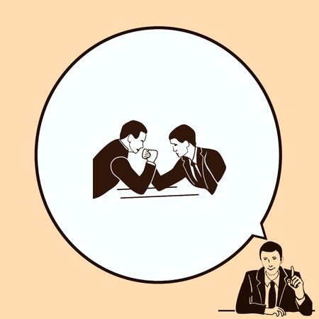 business competition: Two businessman arm wrestling. Competition in business. Vector illustration.