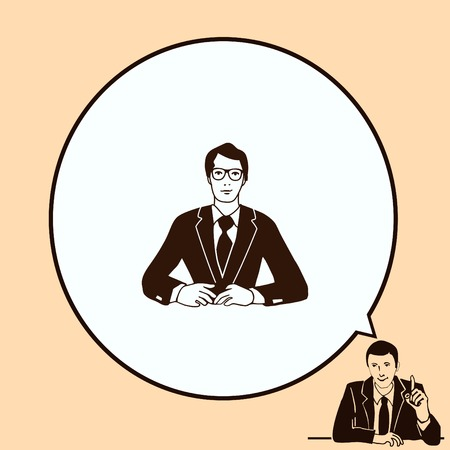 attentive: A man in a suit sitting at a desk. Businessman attentive focused. Vector illustration.