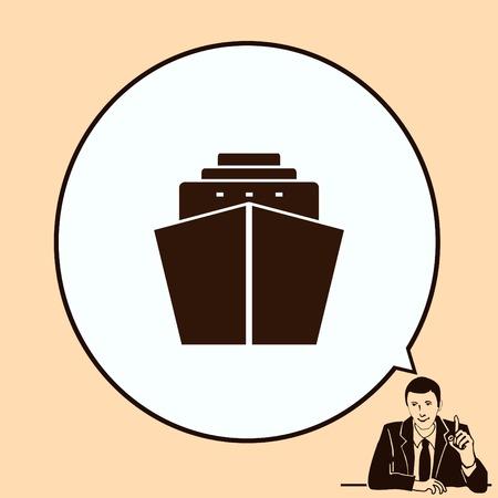 cruiser: Ship icon, vector illustration. Flat design style.