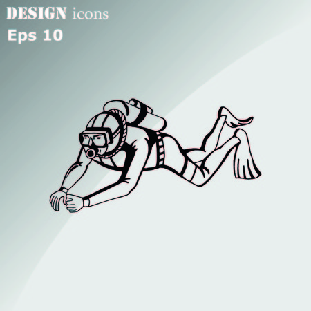 Diver icon, Extreme sports icon, diving icon. Vector illustration.