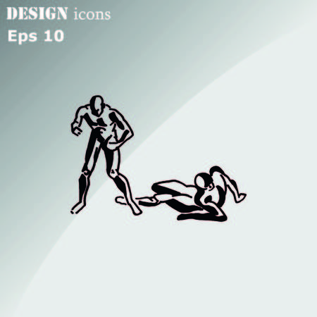 The fight of two men. The fight, sparring, boxing, karate. Vector illustration.